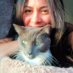 "Lyen and her adopted cat Grey say ""Thank you""!"
