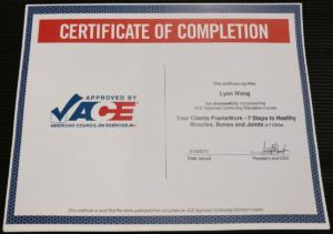 ACE certificate framework healthy muscles
