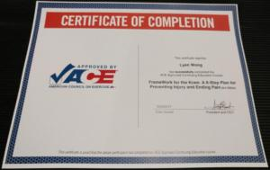 ACE certificate framework knee