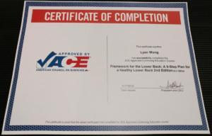ACE certificate framework lower back