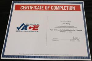 ACE certificate post orthopedic rehab